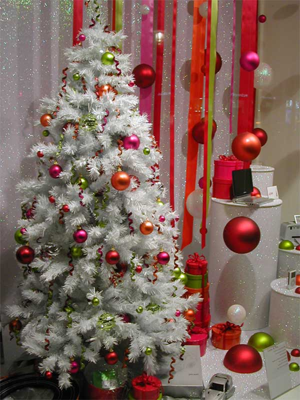 christmas tree decoration pink green white color scheme - Red And Green Christmas Tree Decorations